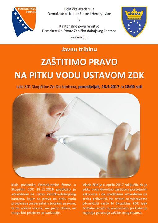 """Poziv na javnu tribinu """"Zaštitimo pravo na pitku vodu Ustavom ZDK"""""""