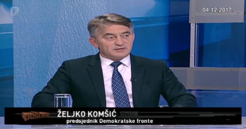 """Video: Emisija """"Pošteno"""" FTV, gost Željko Komšić (04.12.17.)"""